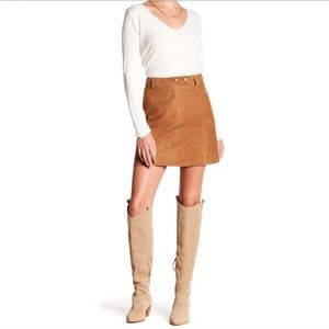 Micheal Stars 100% suede belted A line mini skirt